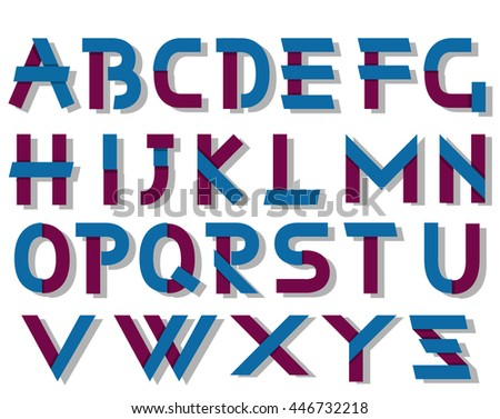 ORIGAMI ALPHABET STYLE WITH SHADOWS BLUE AND VIOLET - stock photo