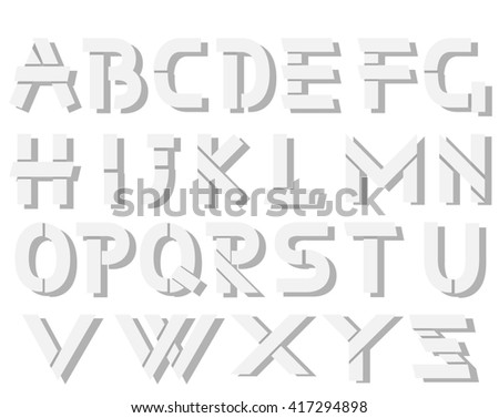ORIGAMI ALPHABET STYLE WITH SHADOWS WHITE SIMPLE - stock photo