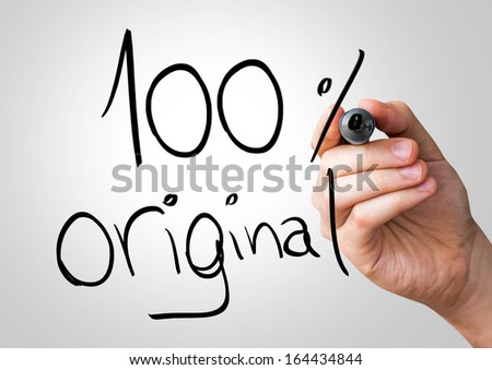 100% Original hand writing with a black mark on a transparent board - stock photo