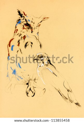 Original pastel and  hand drawn painting or  working  sketch of owl and falcon .Free composition of birds of prey. rapacious birds. - stock photo