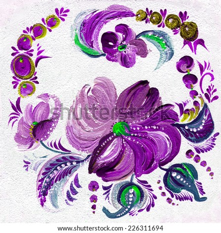 Ornament in the traditional folk style on a texture background - stock photo