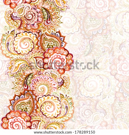 ornamental ethnic light backdrop with bright red-brown border with indian ornament - stock photo