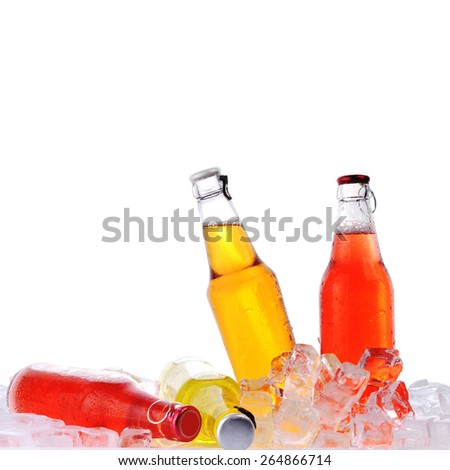 �²ottles with  tasty drink in ice