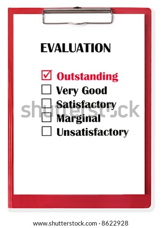 """Outstanding"" rating checked on evaluation form, on red clipboard. - stock photo"