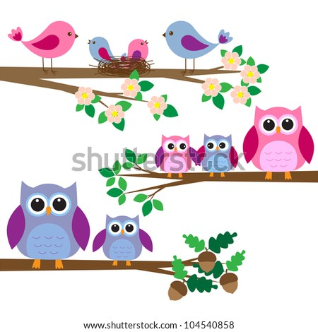 Owls and birds sitting on branches. Raster version - stock photo