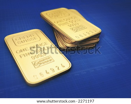 1oz Gold bars on blue background with white grid and stock charts