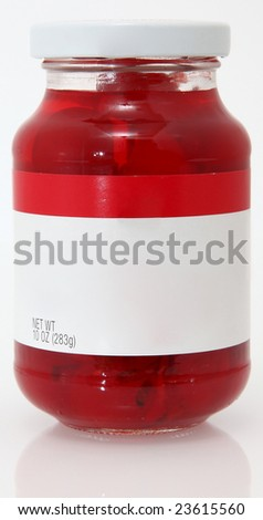 10oz jar of cherries with stems in glass jar.  blank label for text.
