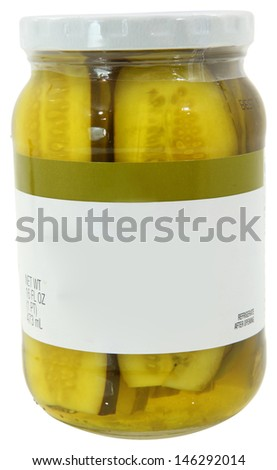 16oz New Unopened Glass Jar of Pickle Spears with Blank Label and Clipping Path
