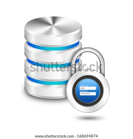 Padlock with user name password on hard disk and database - stock photo