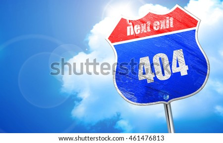 404 page, 3D rendering, blue street sign