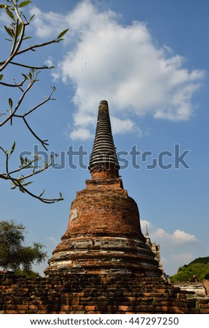 pagoda in temple, Ayutthaya, central of Thailand, World Heritage,blue sky, blue sky cloud,  - stock photo