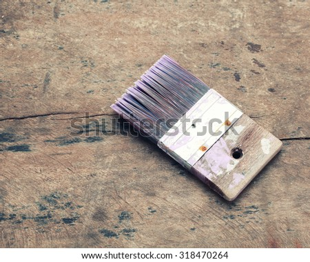 paint brushes on wooden. - stock photo