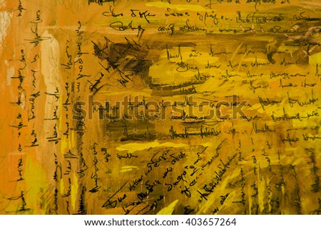 painting pattern wallpaper with  imitation of  handwritten ancient text, illustration - stock photo