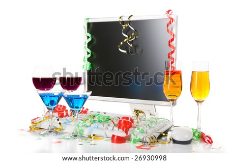 3 pair of drink sets with computer and confetti scattered around.