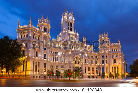 Palace of Communication in summer dusk. Madrid, Spain - stock photo