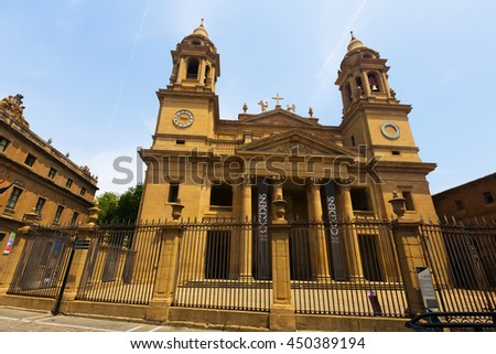 PAMPLONA, SPAIN - JULY 5, 2015: Wide angle shot of  Santa Maria la Real Cathedral in Pamplona, Spain