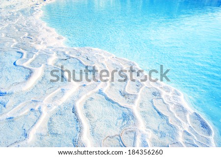 Pamukkale, a popular tourist destination in Turkey - stock photo