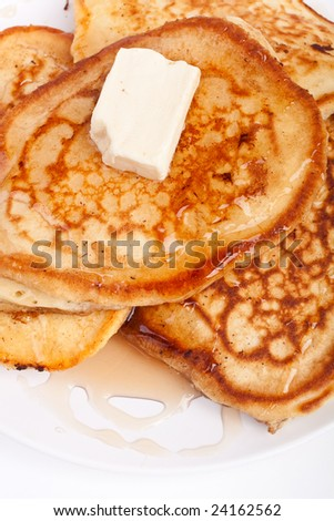 pancakes with maple syrup and butter - stock photo