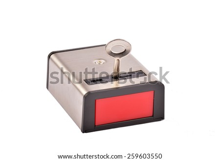 Panic button on white background