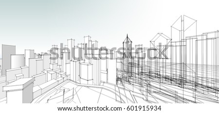 Panorama Architecture Abstract 3d Illustration
