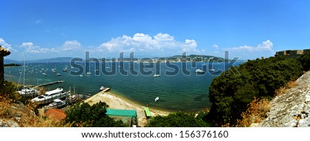 """panorama from a French island called isle """"St. Marguerite"""" near Cannes (France)  - stock photo"""