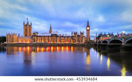 Panorama of Big Ben and Parliament Building at Dawn in London.