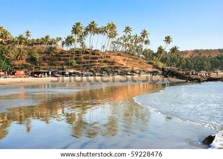 Panoramic view of beautiful tropical beach little Vagator, Goa, India - stock photo