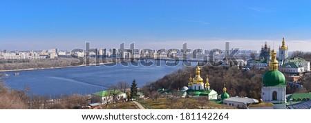 Panoramic view of Kyiv from Kyiv Pechersk Lavra, Ukraine/Panoramic view of Kyiv/Panoramic view of Kyiv from Kyiv Pechersk Lavra - stock photo