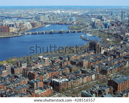 panoramic view of the city of   boston. massachusetts,    and the charles river from the skywalk observatory in the prudential building