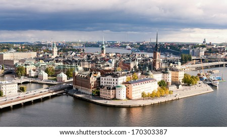 Panoramic view on the Old city about heights,  Stockholm, Sweden