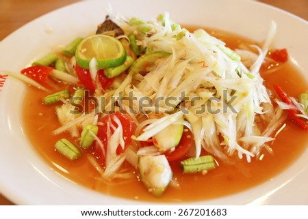 papaya salad, som tum in Thailand
