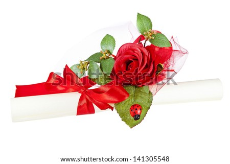 parchment certificate with rose and ladybug - stock photo