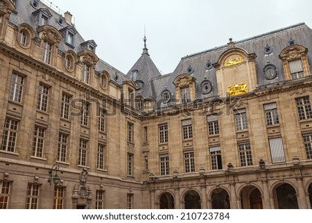 .PARIS, FRANCE - JULY 10, 2014: Sorbonne university. The University of Paris ( Universite de Paris ), famous university in Paris, founded by Robert de Sorbon (1257) - one of first colleges in Europe. - stock photo