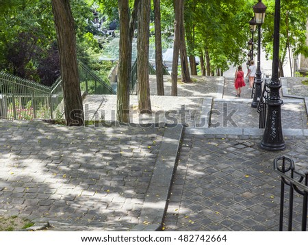 PARIS, FRANCE, on JULY 8, 2016. Picturesque  ladder on a hill Montmartre slope