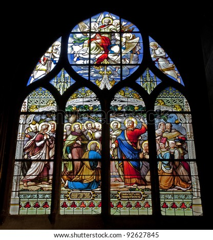 Paris - windowpane from Saint Severin gothic church - Jesus with the children