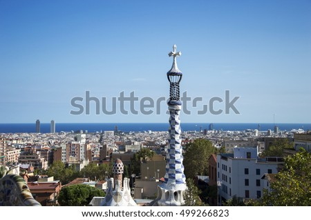 Park Guell designed by Antoni Gaudi in Barcelona, Spain - September 2016