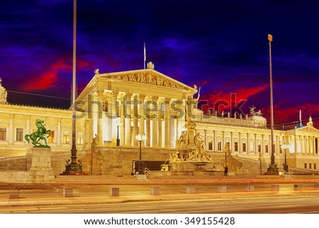 Parlament of Austria, in central of Vienna. Austria. - stock photo