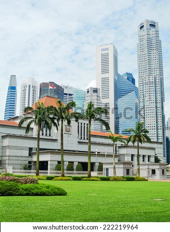 Parliament building of Singapore in front of downtown - stock photo