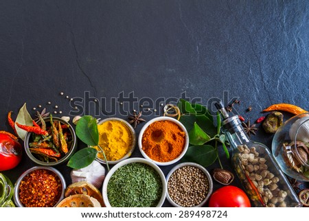 (Parsley, Chilli, Turmeric) Spices and herbs on stone background, top view indian mix spices and herbs difference ware on stone background with copy space for design spices, herbs or foods content. - stock photo