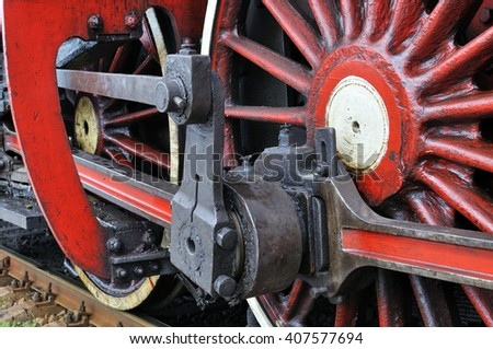 part of active steam locomotive - stock photo