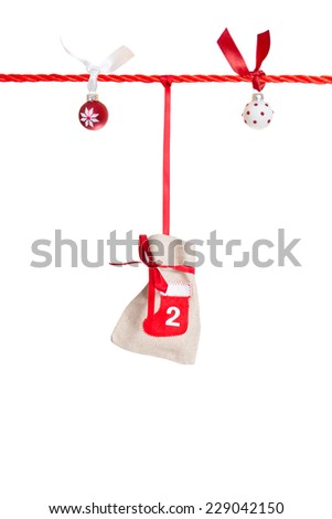 #2 - part of Advent calendar isolated on white background  - stock photo