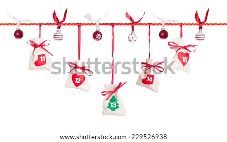 11 - 15, part of Advent calendar isolated on white background - stock photo