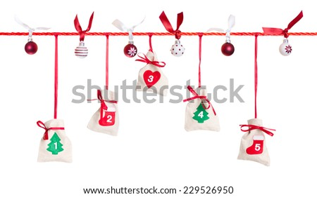 1 - 5, part of Advent calendar isolated on white background - stock photo