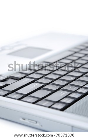 part of the laptop isolated on white background