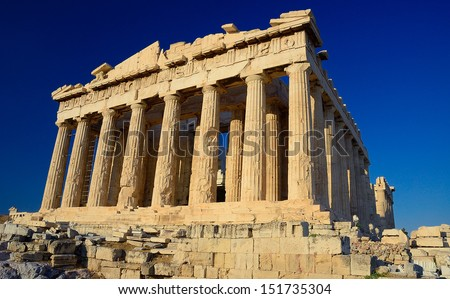 Parthenon , a temple on the Athenian Acropolis, Greece - stock photo