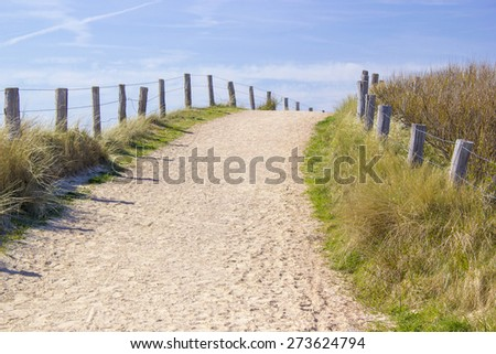 Path trough the dunes, Zoutelande, the Netherlands - stock photo