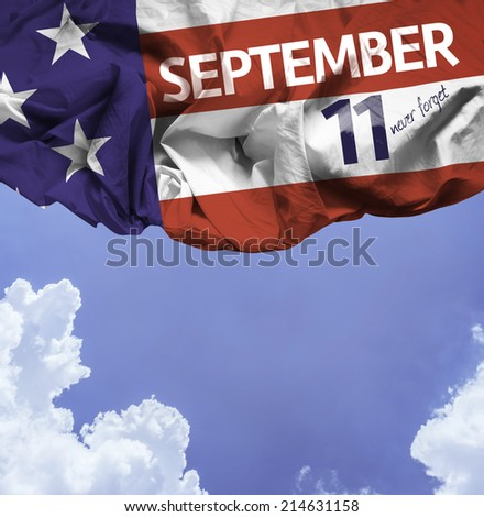 9/11 Patriot Day, September 11 waving flag on blackboard background - stock photo