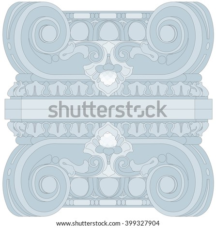 pattern based on the capitals of the columns of the Ionic order - stock photo