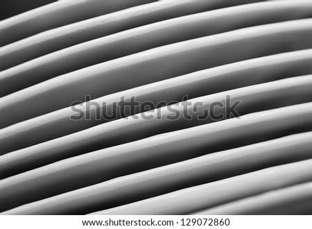 pattern from heap plate. row abstract objects background. The side view