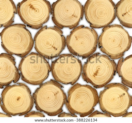 Pattern With Wooden Logs / Pile Of Logs Storage / Firewood Storage / Pine wood logs on white background - stock photo